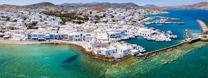 Panoramic aerial view of the village of Naousa, north Paros, Cyclades, Greece. During a sunny summer day royalty free stock image