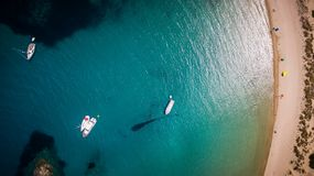 Aerial view of voidokilia beach, Messinia, Greece. Panoramic aerial view of voidokilia beach, one of the best beaches in mediterranean Europe, beautiful lagoon Stock Images