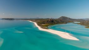 Panoramic aerial view of Whitehaven Beach in Whitsunday Islands, Queensland.  stock image