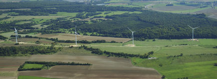 Panoramic and aerial view of wind farm Royalty Free Stock Photography
