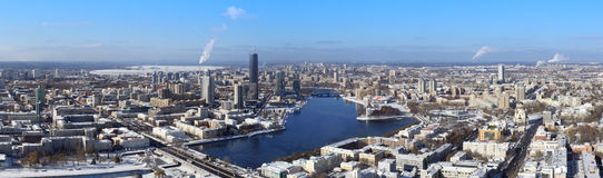 Panoramic aerial view of Yekaterinburg, Russia Stock Images