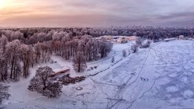 Panoramic aero view on Kuzminki Park in winter stock images