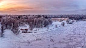 Panoramic aero view on Kuzminki Park in winter royalty free stock image