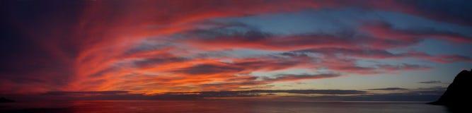 Panoramic afterglow. The panoramic afterglow at Utoro in Hokkaido, Japan Stock Photos