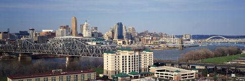 Panoramic afternoon shot of Cincinnati skyline, Ohio and Ohio River as seen from Covington, KY Stock Photos