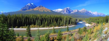 Panoramic of Alberta's Bow River Stock Images