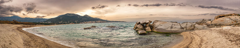 Panoramic of Algajola beach in Corsica Royalty Free Stock Image