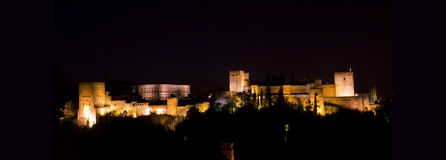 Panoramic of Alhambra. Stock Photos