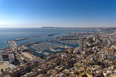 Panoramic of Alicante. City from San Fernando castle stock photography