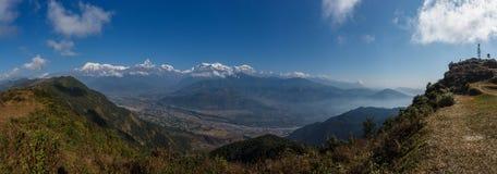 Panoramic of all annapurna range (himalaya) from sarangkot - Pokhara Nepal - Asia Royalty Free Stock Images