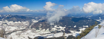 Panoramic Alpen view in spring Royalty Free Stock Photo