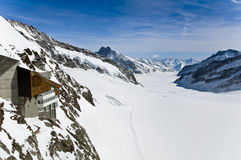 Panoramic Alpine glacier view at Jungfraujoch, Switzerland Stock Photos