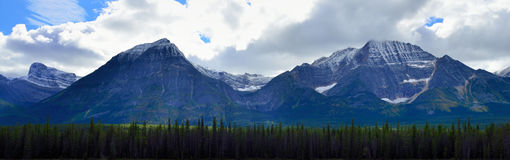 Panoramic alpine scenery along the Icefields Parkway between Jasper and Banff in Canadian Rockies Royalty Free Stock Photo