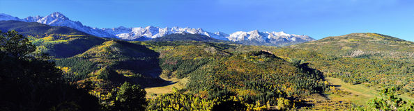 Panoramic alpine scenery of Colorado during foliage Royalty Free Stock Image
