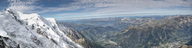 Panoramic Alpine valley view Royalty Free Stock Photo