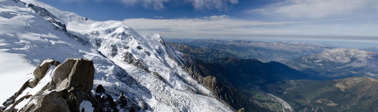 Panoramic Alpine valley view royalty free stock images