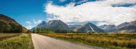 Panoramic alpine view on Glenorchy-Paradise road, NZ. Beautiful alpine scenery on the unsealed road between Glenorchy and Paradise in Otago region, New Zealand Royalty Free Stock Photo