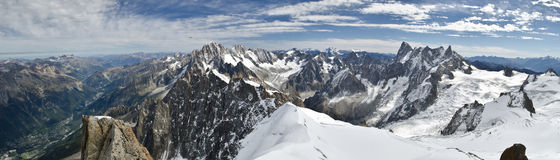 Panoramic Alpine views. Aerial views of Chamonix valley, French Alps Stock Photography