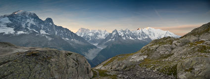 Panoramic Alps views. View of Mont Blanc mountain range near Chamonix, France Royalty Free Stock Photography