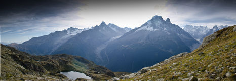 Panoramic Alps views. View of Mont Blanc mountain range near Chamonix, France Stock Images