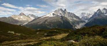 Panoramic Alps views. View of Mont Blanc mountain range near Chamonix, France Stock Photography