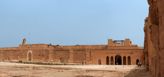 Panoramic of ancient ruins of the El Badi Palace. Stock Image