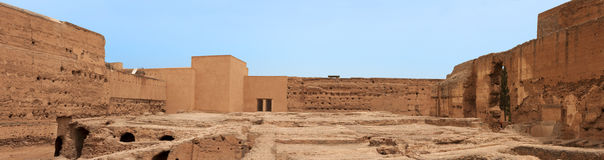 Panoramic of ancient ruins of the El Badi Palace Stock Photo