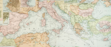 Panoramic Antique Map Royalty Free Stock Photo