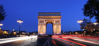 Panoramic Arc de Triomphe Royalty Free Stock Photography