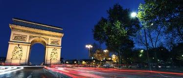 Panoramic Arc de Triomphe by night. Panoramic view of Arc de Triomphe by night, Paris Stock Photo