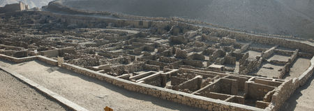 Panoramic of the archaeological excavations of Deir el Medina Stock Images