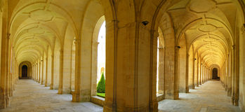 Panoramic Archway. Panoramic photo of medieval archway in the Abbaye de Hommes in Caen, France Stock Images