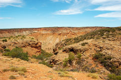 Panoramic Australian landscape - The Bay of Exmouth.  Yardie Creek Gorge in the Cape Range National Park, Ningaloo. Panoramic Australian landscape - The Bay of Royalty Free Stock Photo