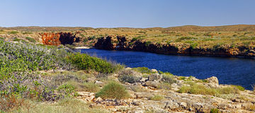 Panoramic Australian landscape- Yardie Creek Gorge in the Cape R Stock Photo