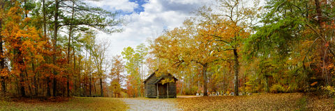 Panoramic of Autumn country Baptist Church Stock Photo