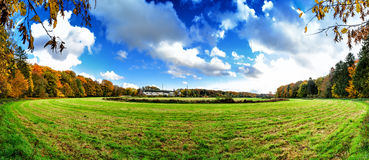 Panoramic autumn landscape with abandoned hippodrome Stock Images