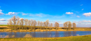 Panoramic autumn landscape in sunny day Royalty Free Stock Photography