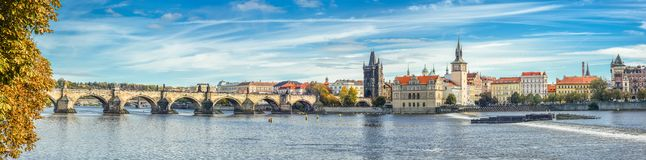 Panoramic Autumn River View On Vltava River, Charles Bridge And Prague Castle , Czech Republic. Prague Old Town. Panorama. Royalty Free Stock Images