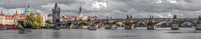 Panoramic Autumn River View On Vltava River, Charles Bridge And Prague Castle , Czech Republic. Prague Old Town. Panorama Royalty Free Stock Photos