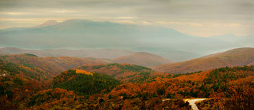 Panoramic autumn  scenery Royalty Free Stock Photography