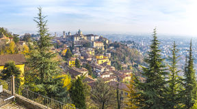 Panoramic autumn view of Bergamo Old Town, Italy Royalty Free Stock Images