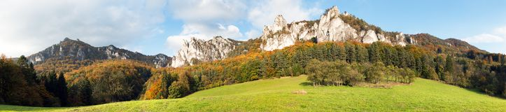 Panoramic autumnal view from Sulov rockies Royalty Free Stock Images
