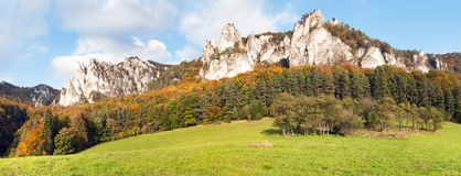 Panoramic autumnal view from Sulov rockies royalty free stock photo