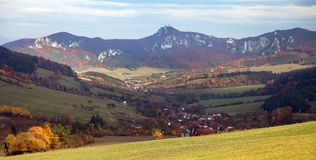 Panoramic autumnal view from Sulov rockies. Sulovske skaly - Slovakia stock images