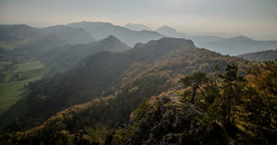Panoramic autumnal view from Sulov rockies - sulovske skaly - Slovakia. Panoramic autumnal view from Sulov rockies - with sunset- sulovske skaly - Slovakia royalty free stock photos