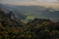 Panoramic autumnal view from Sulov rockies - sulovske skaly - Slovakia. Panoramic autumnal view from Sulov rockies - with sunset- sulovske skaly - Slovakia stock image