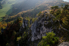 Panoramic autumnal view from Sulov rockies - sulovske skaly - Slovakia. Panoramic autumnal view from Sulov rockies - with sunset- sulovske skaly - Slovakia royalty free stock image