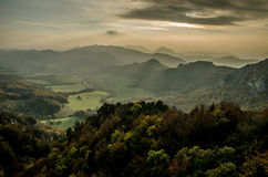 Panoramic autumnal view from Sulov rockies - sulovske skaly - Slovakia Royalty Free Stock Images
