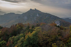 Panoramic autumnal view from Sulov rockies - sulovske skaly - Slovakia. Panoramic autumnal view from Sulov rockies - with sunset- sulovske skaly - Slovakia stock photo