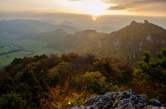 Panoramic autumnal view from Sulov rockies - sulovske skaly - Slovakia Stock Photo